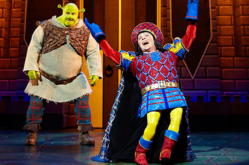 Nigel Lindsay as Shrek and Nigel Harman as Lord Farquaad in Shrek The Musical. Photo by Brinkhoff Mögenburg