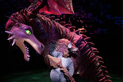 The Dragon And Richard Blackwood As Donkey In Shrek The Musical Photo By Helen Maybanks My Hidden Gems