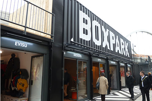 Boxpark pop up shopping mall Shoreditch East London
