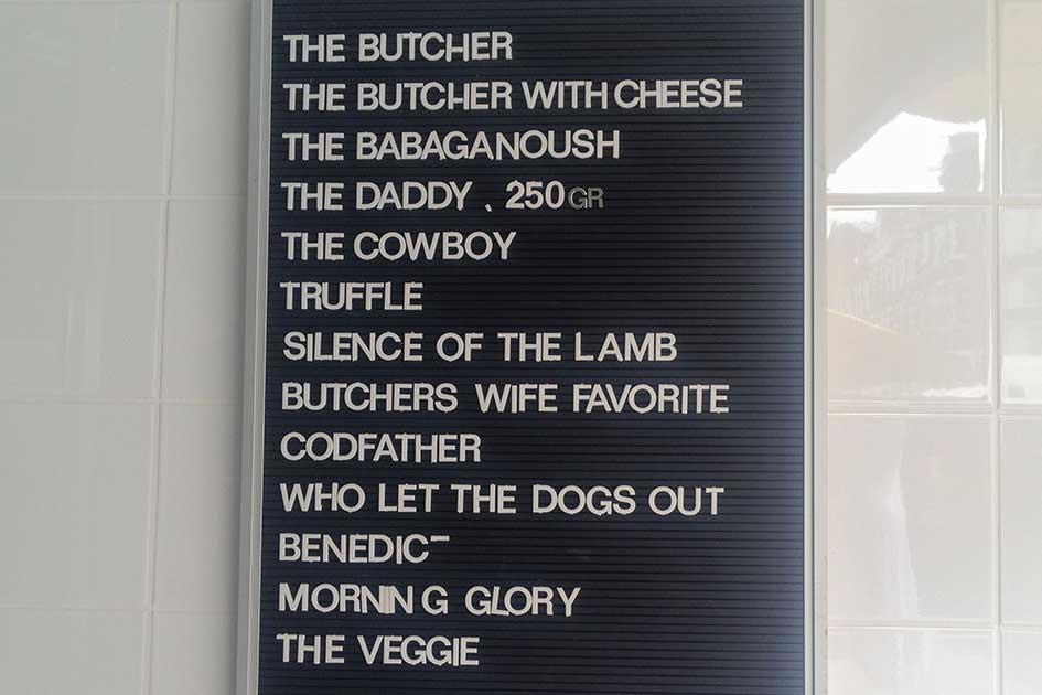 The burger menu at The Butcher Amsterdam