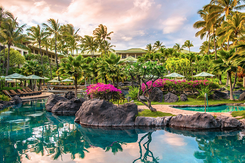 One of the many pools at the Grand Hyatt Kauai